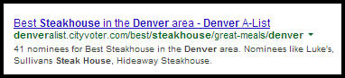 SERP result for Denver steak houses